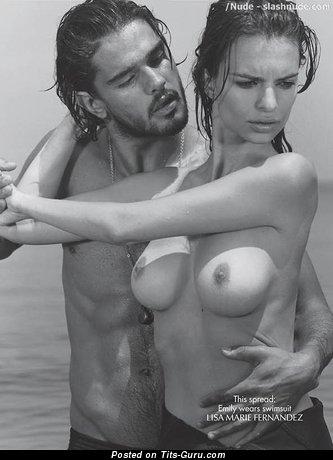 Image. Emily Ratajkowski - naked wonderful woman with medium natural boobies pic