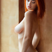 Topless red hair with medium natural tittes photo