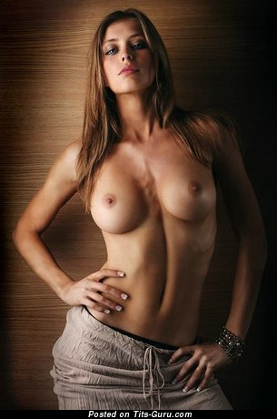 Topless wonderful woman with medium breast picture
