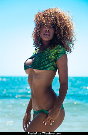 Aisha Thalia - Awesome Non-Nude & Glamour Trinidadian, American Red Hair Babe with Awesome Fake Breasts & Sexy Legs in Bikini on the Beach (Sex Image)