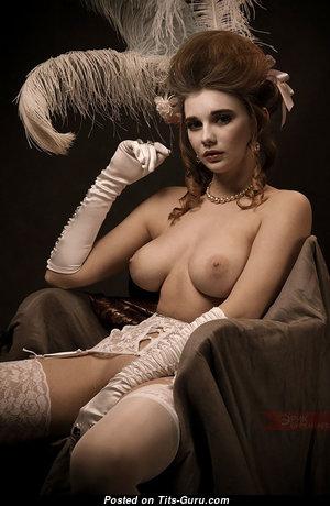 Natacha Tikhomirova - Beautiful Red Hair Babe with Beautiful Bald Natural Medium Titty in Lingerie (Hd Porn Wallpaper)