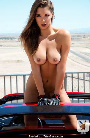 Alyssa Arce - sexy topless brunette with medium natural tittys and big nipples picture