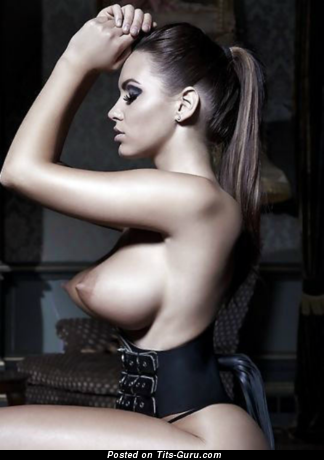Sexy topless brunette with medium boobs photo