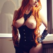 Fascinating Topless & Glamour Red Hair with Fascinating Bare Real Average Titty & Erect Nipples is Undressing (18+ Image)
