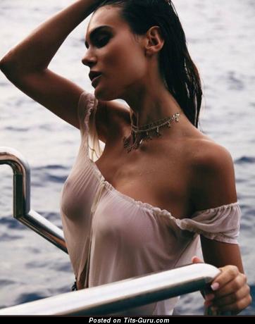 Sexy wet naked brunette photo