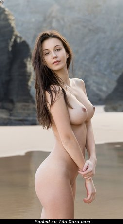 Image. Sexy naked brunette with medium natural breast and big nipples image