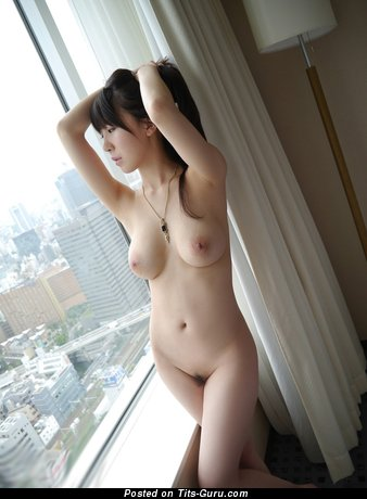 Image. Sexy topless asian brunette with small breast pic