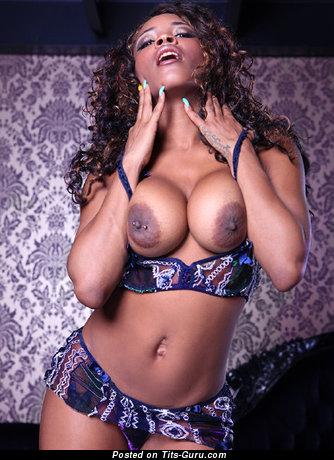 Image. Nude ebony with big fake tittys picture
