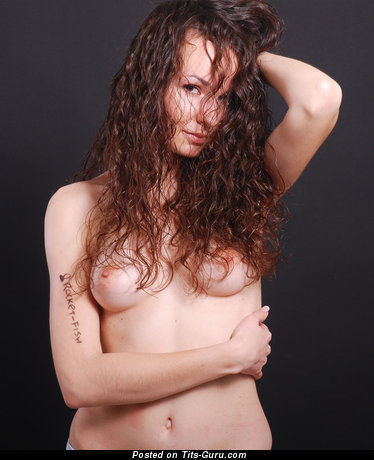 Naked beautiful woman with medium natural boobs image
