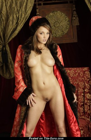 Image. Naked brunette with medium natural breast picture