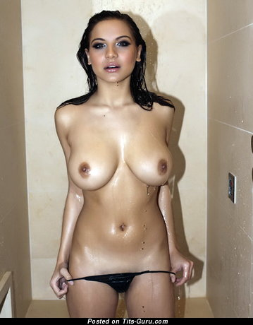 Image. Wet brunette with big natural tittys pic