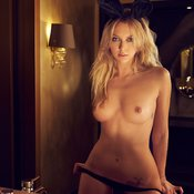 Topless blonde with medium natural tittes image