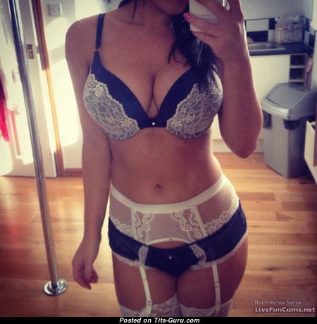 Stunning Non-Nude Brunette Babe with Elegant Natural Mid Size Boob in Lingerie (Selfie Porn Photoshoot)