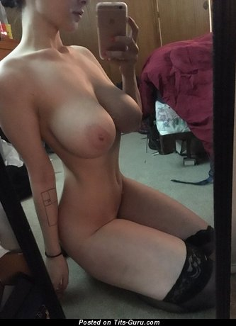 Sexy naked wonderful girl with medium natural tittys selfie