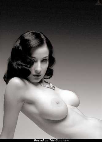 Dita Von Teese - Fascinating American Brunette with Fascinating Open Natural Tight Breasts (Porn Picture)