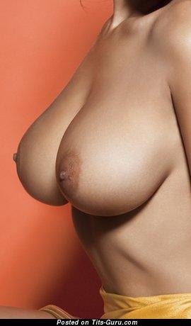 Брюнетка с шикарным обнажённым крупным бюстом (ню фото)
