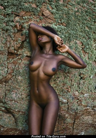 Topless ebony with medium natural tittys pic