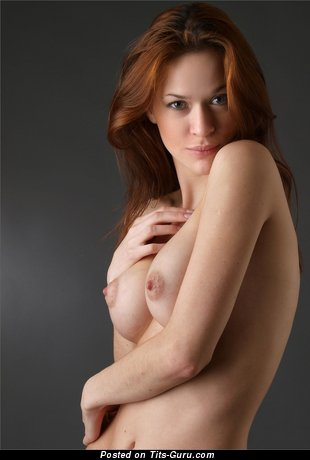 Exquisite Topless Red Hair with Exquisite Naked Real Med Tits & Pointy Nipples (Hd 18+ Pic)
