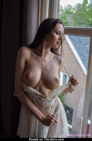 Nikolart - Splendid Topless Brunette Girlfriend & Babe with Splendid Bare Natural Boobies, Inverted Nipples, Sexy Legs is Undressing (Hd 18+ Pix)