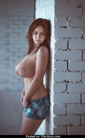 Alinka Vishenka - Hot Topless Russian Red Hair with Hot Bare Natural Mega Boobies & Big Nipples (Hd Sex Picture)