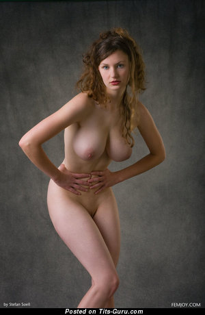 Nude hot woman with medium natural boobies and big nipples image
