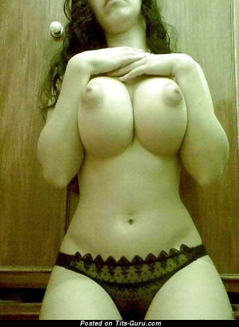Sexy Topless College Brunette Girlfriend with Sexy Open Regular Breasts & Erect Nipples in Panties & Lingerie (Amateur Porn Photo)