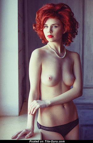 Nude red hair with natural tittes photo