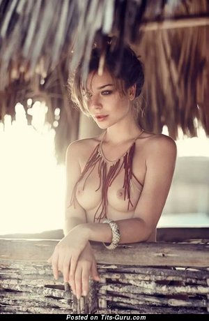 Topless amazing girl with natural boobies image
