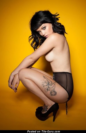 Image. Sexy naked brunette with tattoo pic