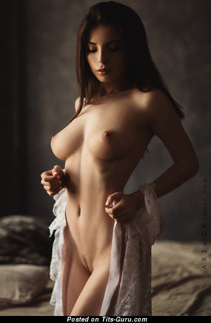 Image. Brunette with medium natural breast photo