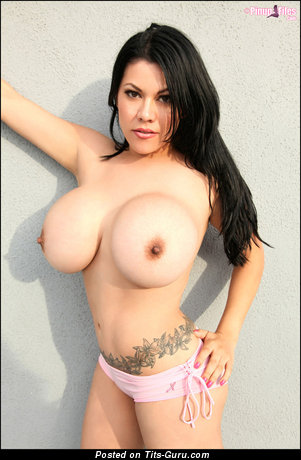 Ana Rica - Magnificent Mexican Brunette Babe with Magnificent Bald Round Fake Ddd Size Tots (Porn Pix)