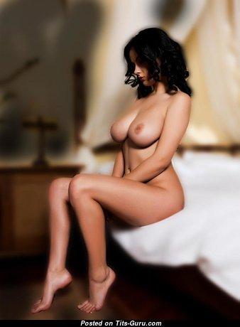 Брюнетка красотка с горячей оголённой натуральной среднего размера грудью (hd секс фото)