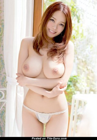 Exquisite Topless Asian Red Hair Babe with Lovely Open Natural Regular Tittes (18+ Wallpaper)