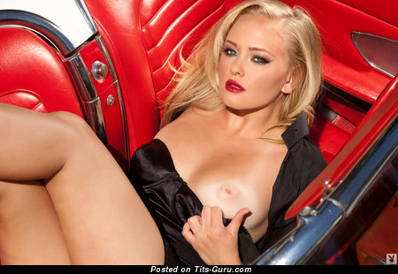 Ashley Hobbs - Graceful Topless American Playboy Blonde Babe with Graceful Bare Natural Regular Boobie & Red Nipples (18+ Photoshoot)