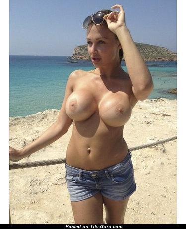 Aletta Ocean - Nice Topless Hungarian Brunette Pornstar is Smoking on the Beach (Xxx Wallpaper)