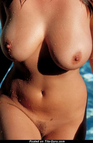Naked beautiful lady with big natural tots and big nipples image