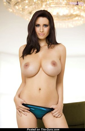 Sexy topless brunette with big natural tittes picture