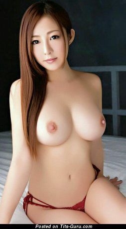 Nude asian brunette with medium breast image
