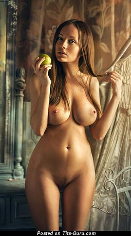 Image. Sexy topless brunette with medium natural boobies and big nipples photo