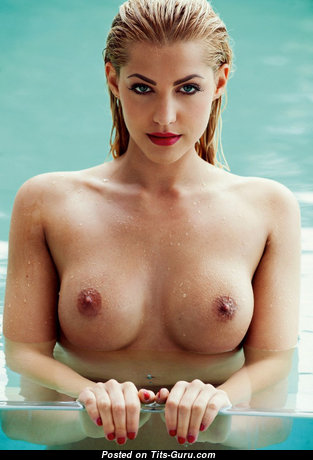 Graceful Wet & Topless Blonde Babe in the Pool (Xxx Picture)