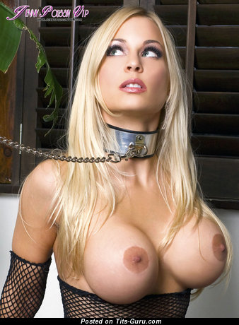 Jenny Poussin - sexy topless blonde with big fake tots and big nipples image