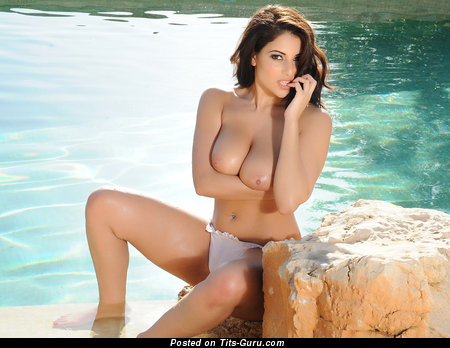 Image. Sexy naked brunette with big natural boobies image