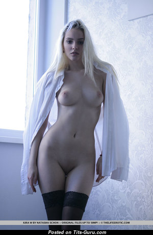 Delightful Blonde with Delightful Nude Natural D Size Busts (18+ Pix)