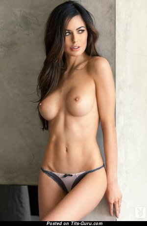 Image. Sexy naked brunette with medium boob pic