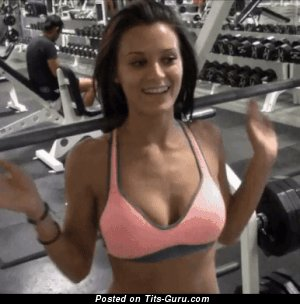 Hot Topless Brunette Babe Reveal Appealing Nude Real Regular Melons & Red Nipples (Xxx Gif)