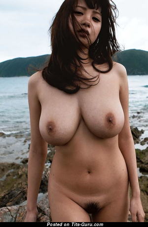 Shion Utsunomiya - topless asian brunette with medium natural boobs and big nipples picture