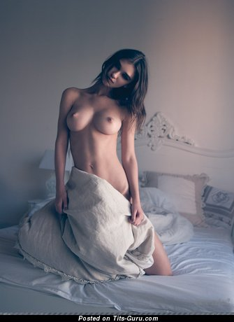 Image. Naked brunette with big natural boob picture