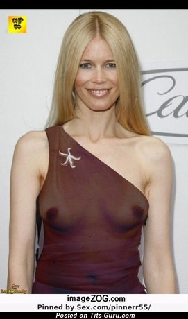 Claudia Schiffer - Fascinating Non-Nude German Blonde Babe with Fascinating Real Tit & Big Nipples (Xxx Pic)