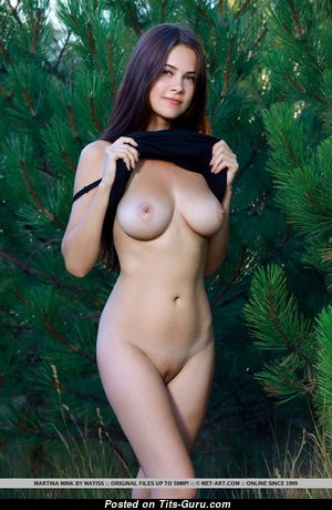 Martina Mink - Superb Brunette Babe with Superb Exposed Real Mid Size Boobies (Porn Pix)