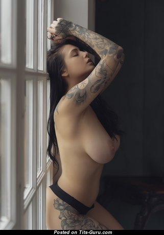 Евгения Таланина: sexy naked brunette with natural tots, tattoo & big nipples image